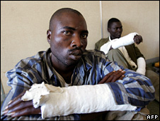 Two members of the Movement for Democratic Change (MDC) who say they were beaten by government supporters in Masvingo (3 May 2008)