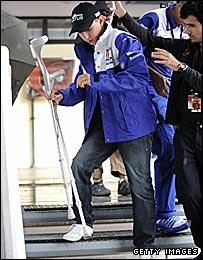 Jorge Lorenzo on crutches