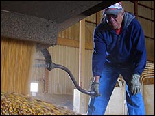Worker at the POET ethanol plant