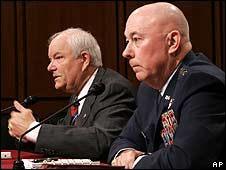 Air Force Secretary Michael Wynn (left) and Air Force Chief of Staff Gen Michael Moseley testify on Capital Hill on 5 March