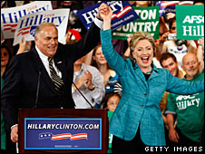 Ed Rendell (L) campaigns with Hillary Clinton