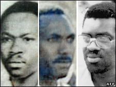 [From left] Vincent Bajinya, Celestin Ugirashebuja and Emmanuel Nteziryayo (pictures of Charles Munyaneza were not available)