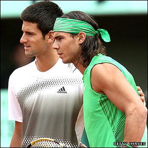 Novak Djokovic (left) and Rafael Nadal