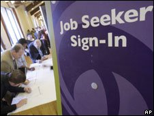 Jobseekers at a jobs fair in California