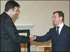 Russian President Dmitry Medvedev (right) meets President of Georgia Mikhail Saakashvili