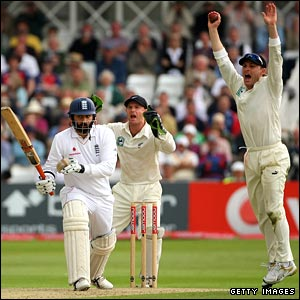 Monty Panesar is given out