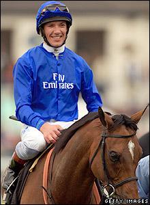 Jockey Frankie Dettori enjoys victory