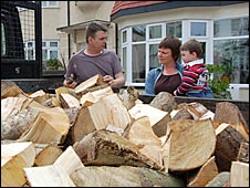 Emma Pullen takes delivery of her wood