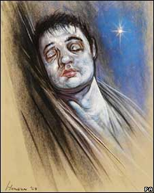 "drawing of Pete Doherty titled,""Liberty"" depicting him as dead"