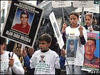 Demonstration against kidnapping in Bogota