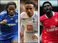 Chelsea striker Didier Drogba (left), Tottenham's Dimitar Berbatov (centre) and Emmanuel Adebayor, of Arsenal