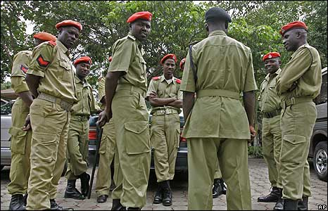 Tanzanian troops provide security at the AU Summit on the outskirts of Arusha, Tanzania, Thursday, May 22, 2008