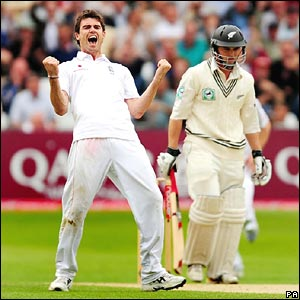 James Anderson celebrates another wicket