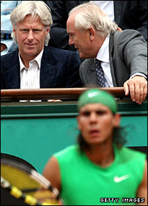 Bjorn Borg looks on as Rafa Nadal faces Novak Djokovic