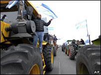 Protesta de agricultores en Argentina