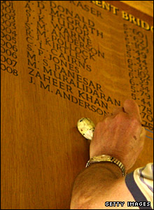 An engraver puts James Anderson's name on the honours board
