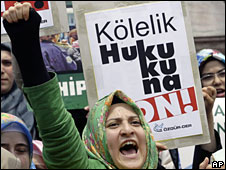 Islamic demonstrators protest against a head scarf ban in Istanbul, Turkey, 6 June