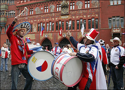 Czech Republic fans create a lively atmosphere in Basel
