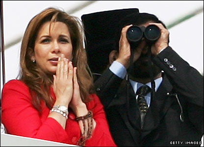 New Approach's owner Princess Haya of Jordan and her husband Sheikh Mohammed watch on anxiously