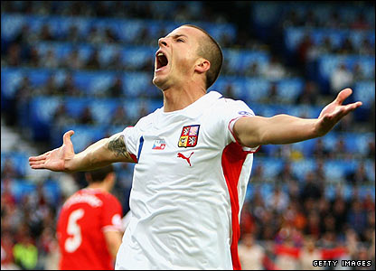 Czech substitute Vaclav Sverkos celebrates scoring the opener