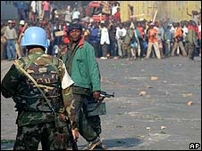 A blue-helmeted UN peacekeeper in Bukavu, DR Congo (image from 2004)