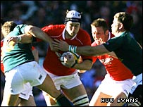 Ryan Jones is tackled against South Africa