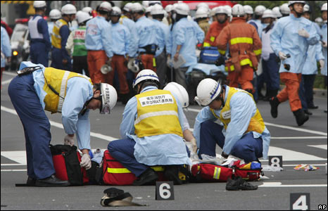 Rescue workers from Tokyo Fire Department