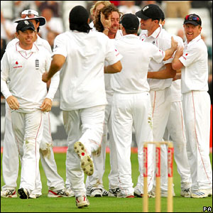 England celebrate the dismissal of Daniel Flynn late on Saturday