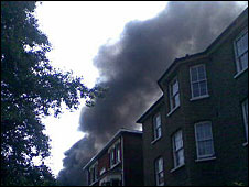 Smoke from fire at Sydenham Park Road electrical sub-station