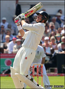 ... Hopkins by lifting Stuart Broad over the square leg boundary for six