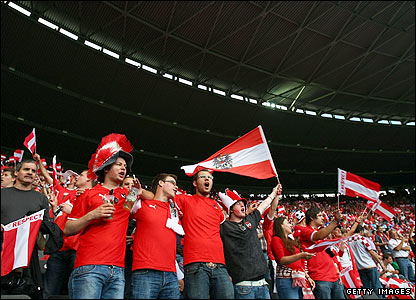 Austria fans start to build a lively atmosphere in the Ernst Happel Stadion
