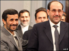 Mahmoud Ahmadinejad (L) and Nouri Maliki, 8 June