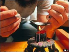 a man preparing to take heroin