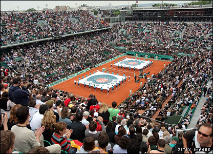 Court Philippe Chatrier has a capacity 15,000 crowd for the much anticipated men's final
