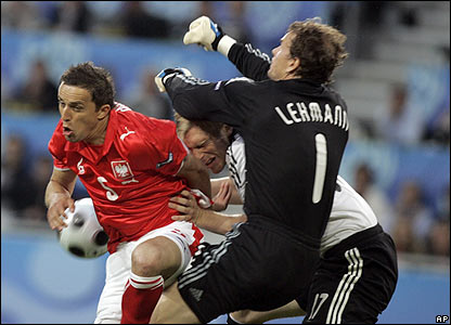 German keeper Jens Lehmann is forced into action