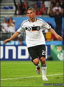 Lukas Podolski celebrates his goal for Germany
