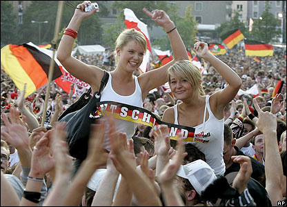 German supporters back in Cologne celebrate