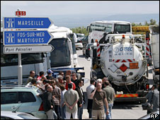 Truckers and taxi drivers block traffic and access to an oil refinery at La Mede near Marseille, France, 2 June 2008