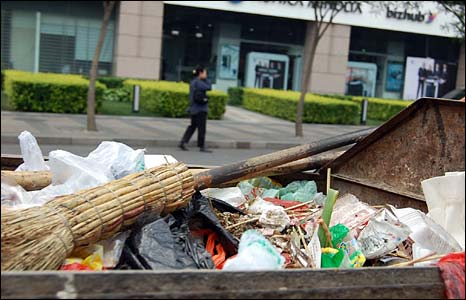 Plastic bags fill a rubbish bin in Beijing, China