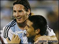 Lionel Messi and Juan Roman Riquelme