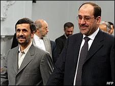 Iranian President Mahmoud Ahmadinejad (L) with Iraqi Prime Minister Nuri al-Maliki in Tehran