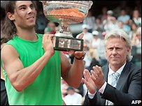 Rafael Nadal (left) and Bjorn Borg