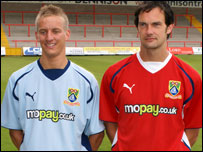 Morecambe's new home and away kits