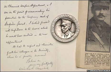 Letter from Winston Churchill to the widow of Edward Harrison