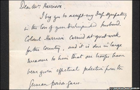 Detail from a letter written by Winston Churchill to the widow of the inventor of the gas mask