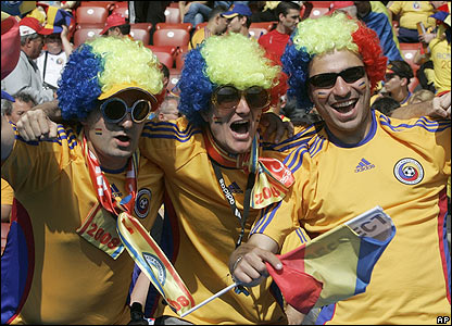 Colourful Romanian fans are out in force in in Zurich