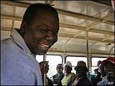 Morgan Tsvangirai campaigning on a bus near Bulawayo, 7 June 2008
