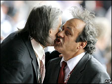 Ilie Nastase and Michel Platini get better acquainted