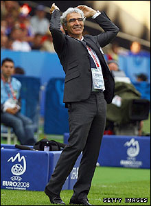 France coach Raymond Domenech shows his frustration