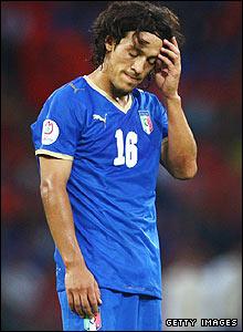 Mauro Camoranesi of Italy looks dejected